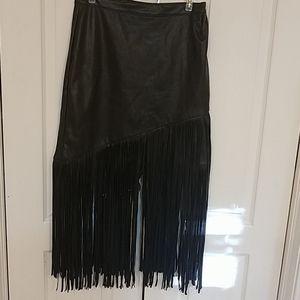 Bagatelle fringed faux leather skirt size 4